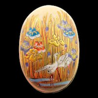 Antique Hand-Painted Enamel Scenic Crane and Floral Oval Brooch