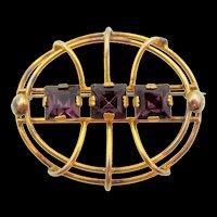 Vintage Gold-filled Amethyst Glass Rhinestone Brooch
