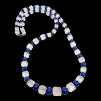 1930s Czech Cubed Crystal and Lapis Beaded Necklace