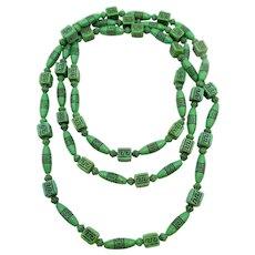 Art Deco Czech Neiger Bros. Green Imprinted Bead Flapper Necklace