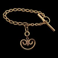 Antique Gold Plated Watch Chain Fob or Bracelet