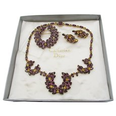 Gorgeous Christian Dior Purple and Gold Rhinestone Necklace, Brooch and Earring Parure