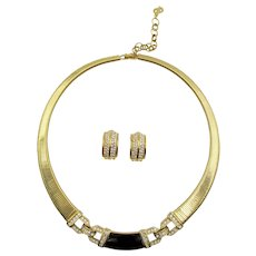 Christian Dior Black Enamel and Crystal Rhinestone Necklace and Clip Earrings