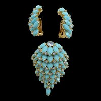 Kramer of New York Turquoise Glass Cascading Brooch and Earring Set