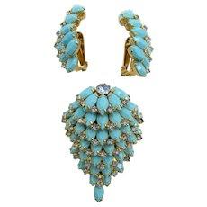 Kramer of New York Turquoise Glass Cascading Brooch and Earring Set