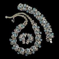 Kramer of New York Denim Blue and Gray Rhinestone Necklace, Bracelet and Earring Set
