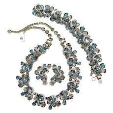 Kramer of New York Denim Blue and Gray Rhinestone Necklace, Bracelet and Earring Set