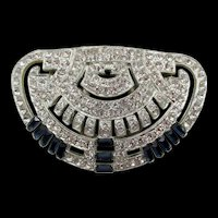 Stunning Art Deco Sapphire Blue Baguette and Crystal Rhinestone Dress / Fur Clip