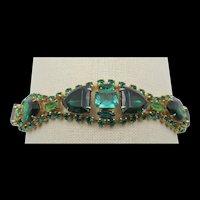 Vintage Emerald Green Triangle Rhinestone Bracelet