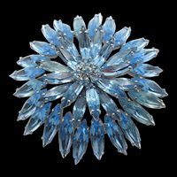 Signed Sherman Light Blue Sapphire Navette Rhinestone Brooch
