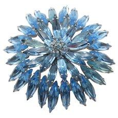Signed Sherman Light Blue Sapphire Navette Rhinestone Brooch