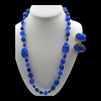 Miriam Haskell Royal Blue Art Glass Necklace and Earrings