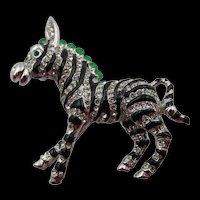 Vintage Ciner Zebra Figural Rhinestone Enamel Brooch Pin
