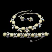 Regency Winter White Faux Pearl AB Rhinestone Necklace, Bracelet and ER Parure
