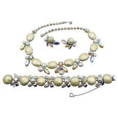 Regency Winter White Faux Pearl AB Rhinestone Necklace, Bracelet and ER Parure