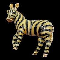 Vintage Ciner Enamel Green Rhinestone Zebra Figural Brooch