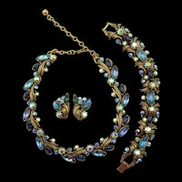 Vintage Signed Florenza Blue Purple Rhinestone Necklace, Bracelet and Earring Parure