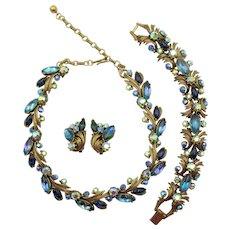 Vintage Signed Florenza Blue Purple Rhinestone Necklace, Bracelet and Earring Parure
