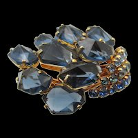 Signed Austria Blue Inverted Rhinestone Brooch