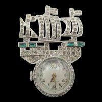 Vintage Signed Creations Three Mast Ship Lapel Watch Brooch