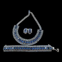 Gorgeous Vintage Sapphire and Light Blue Rhinestone Wide Necklace, Bracelet and ER Parure