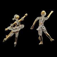 Rare Kramer of New York Pair of Ballet Dancer Brooches
