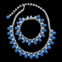 Beautiful Weiss Turquoise Glass Drops Blue Rhinestone Necklace and Bracelet Set