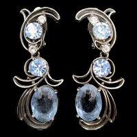 Schiaparelli Light Blue Faceted Rhinestone Drop Earrings