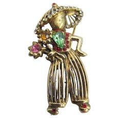Coro Sterling Vermeil Rhinestone Flower Lady Figural Brooch