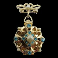 Coro Pegasus 1940s Love Locket Four Photo Turquoise Rhinestone Brooch