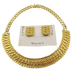 Mimi di N Gold Plated Byzantine Necklace and Earrings - Mint
