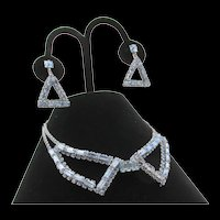 Art Deco Style Weiss Geometric Blue Rhinestone Necklace and Earrings