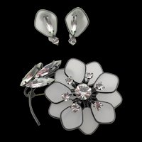 Vintage Germany Frosted Glass Floral Brooch and Earring Set