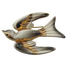 Coro Pegasus 1940s Enamel Bird in Flight Brooch