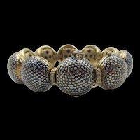 Ciner Teal Blue Enamel Gold Plated Dome Bracelet