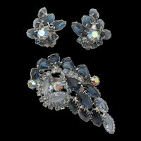 Stunning Open Back Sapphire Blue Rhinestone Paisley Brooch and Earrings