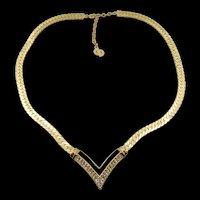 Signed Christian Dior Rhinestone and Enamel Necklace