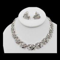 Crown Trifari Silvertone Rhinestone Heart Necklace and Clip Earrings