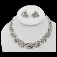 Crown Trifari Silvertone Rhinestone Heart Necklace and Clip Earrings