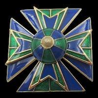 Ciner Blue Green Enamel Maltese Cross Brooch/Pendant