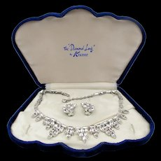 Kramer Of New York Crystal Rhinestone Necklace and Earring Set in Original Box