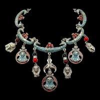 "Signed ""Art""  Egyptian Revival Enamel Bib Drop Necklace"
