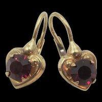 9k Italy Yellow Gold Garnet Heart Pierced Earrings