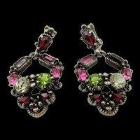 Hollycraft 1954 Rhinestone Drop earrings - Purple, Pink and Olivine