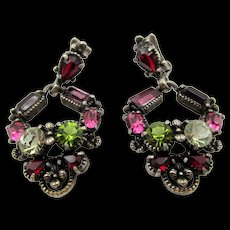 Hollycraft 1954 Rhinestone Drop earrings - Purple, Pink and Olivine