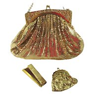 Whiting and Davis Mesh Rhinestone Purse and Matching Accessories