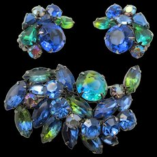 Gorgeous Kramer Variegated Blue-Green Rhinestone Brooch and Earrings