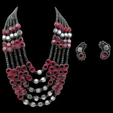 Vintage Hobe Five Strand Rare Black and Red Art Glass Necklace and climber earrings