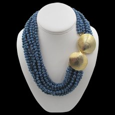 Mimi di N Torsade Nine Strand Blue Floral Necklace Shell Clasp