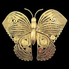 Vintage Large Gold Plated Wirework Butterfly Brooch